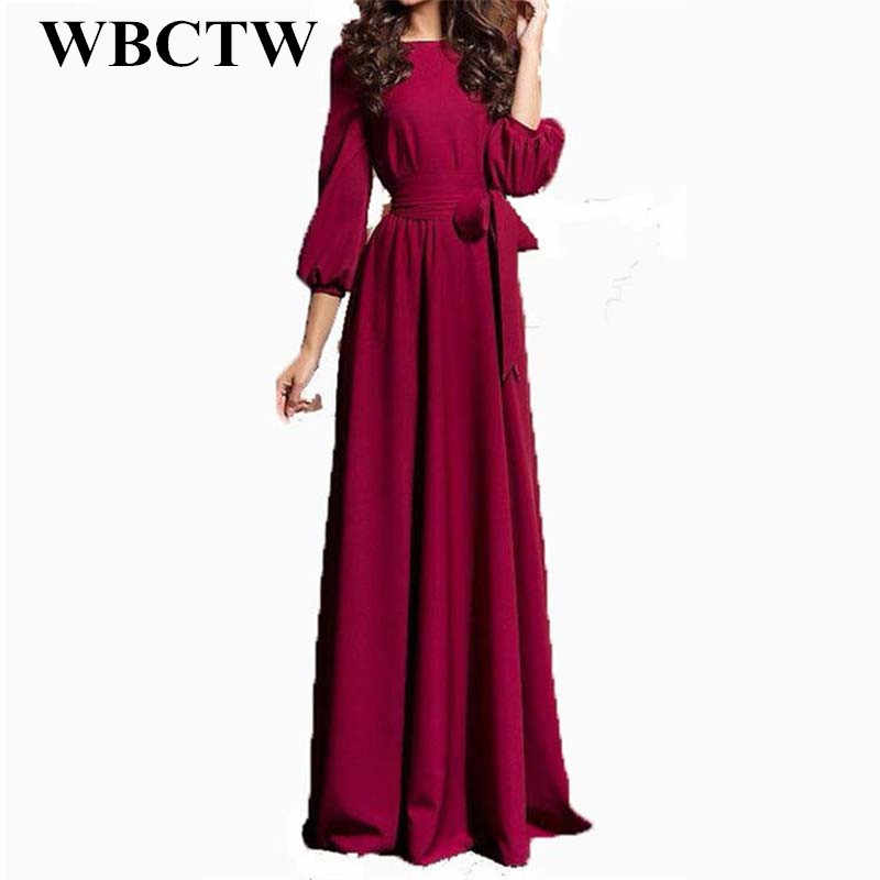 WBCTW Wine Red Vintage Dress High Waist Floor Length Slim 7XL Large Size  Runway Party Dress abe080b862f2