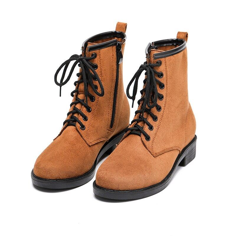 Mode Sabot Dames Femmes Punk Moto Med Lacets Cheville forme Chaussures Noir Bout Rond jaune Martin Plate Loisirs Talons De À Flock Bottes uc3TK1lFJ