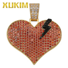 Xukim Jewelry AAA Cubic Zirconia Full Iced Out Punk Black Lightning Red Break Heart Pendant Mens Women Hip Hop Gift