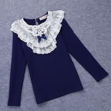 Autumn Girl Clothes O-neck T-shirt Children's Cotton Tshirts Long Sleeve T-shirt Korean Girls Basic Shirt Lace Bottoming T-Shirt