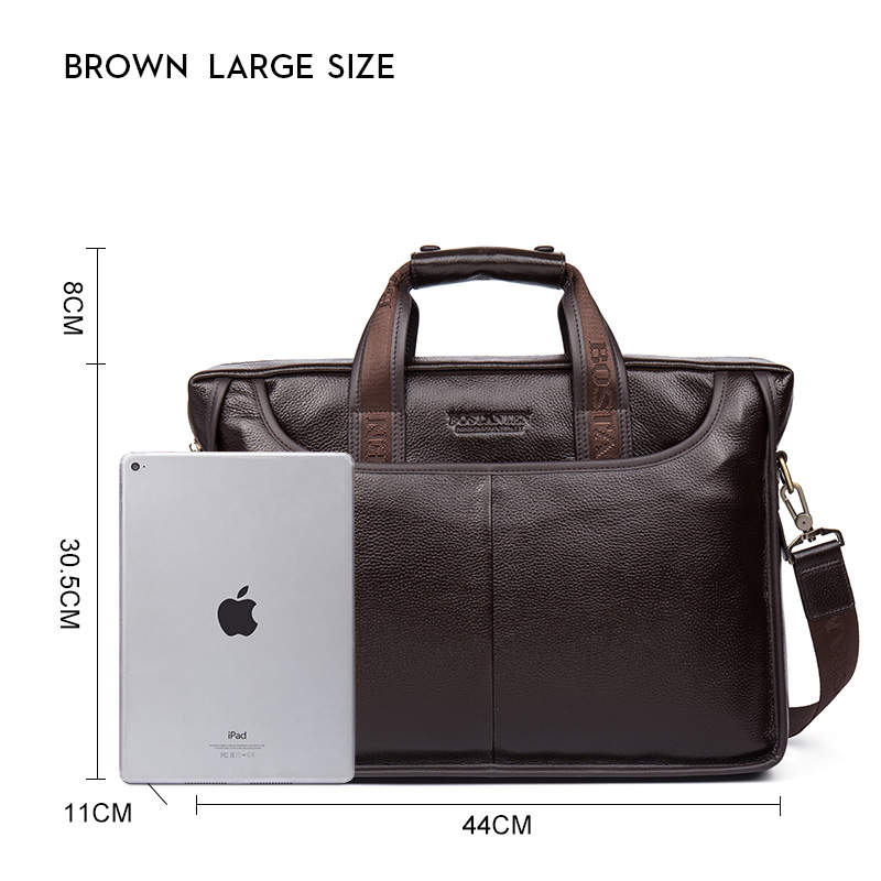 Image 5 - Bostanten 2019 New Fashion Genuine Leather Men Bag Famous Brand Shoulder Bag Messenger Bags Causal Handbag Laptop Briefcase Male-in Briefcases from Luggage & Bags