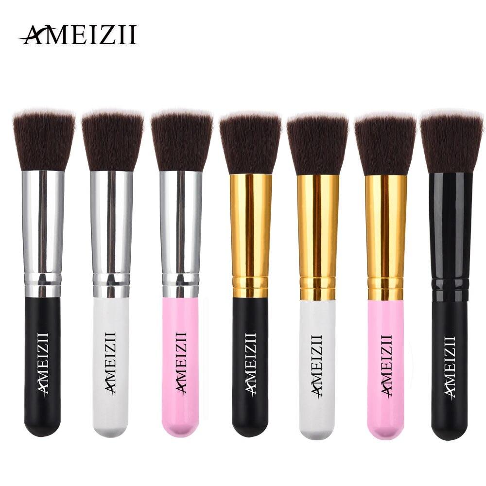 AMEIZII 1pcs Wood Makeup Brush Handle Flat Top foundation Face Nose Powder Blush Eye Shadow Pro Cosmetic Make Up Brushes Tool chunky handle makeup brush 1pcs