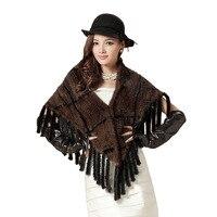 Free Shipping!Big Discount!Fashion Triangle Women's Mink Fur Shawl Scarf Fringed Scarf Free Shipping EMS