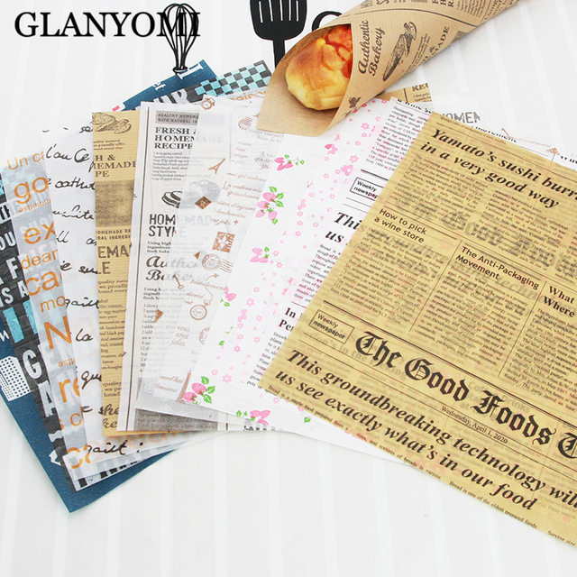 25Pcs/Lot Wax Paper Food Grade Grease Paper Food Wrappers Wrapping Paper For Bread Sandwich Burger Fries Oilpaper Baking Tools