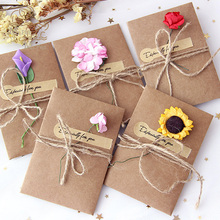10pcs/set Vintage DIY Kraft Paper Invitation Greeting Card with Envelope Handmade Dry Flower Wedding Party Envelopes