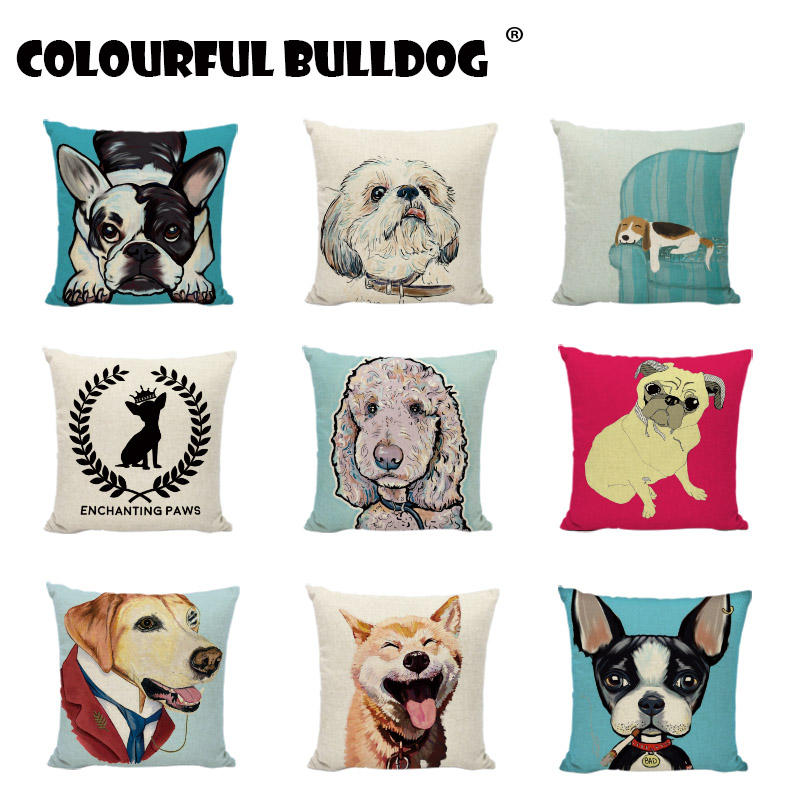 New Dog Pugs Cushion Cover Cigarette Printied Linen Throw Pillow Animals Pillows Cover Car Home Decorative Baby Room Pillowcases