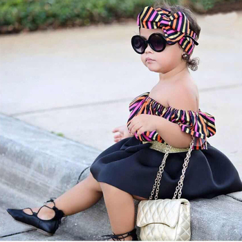 Baby Kids Girls Clothing Sets Toddler Kids offshoulder Tops+Skirts+headband 3Pcs Outfits Clothes MB438 1
