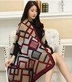 Estilo do inverno 2016 mulheres senhora Cachecóis Pashmina marca de luxo quente acho Poncho padrão xadrez moda Cachecóis para mulheres 65*190 CM
