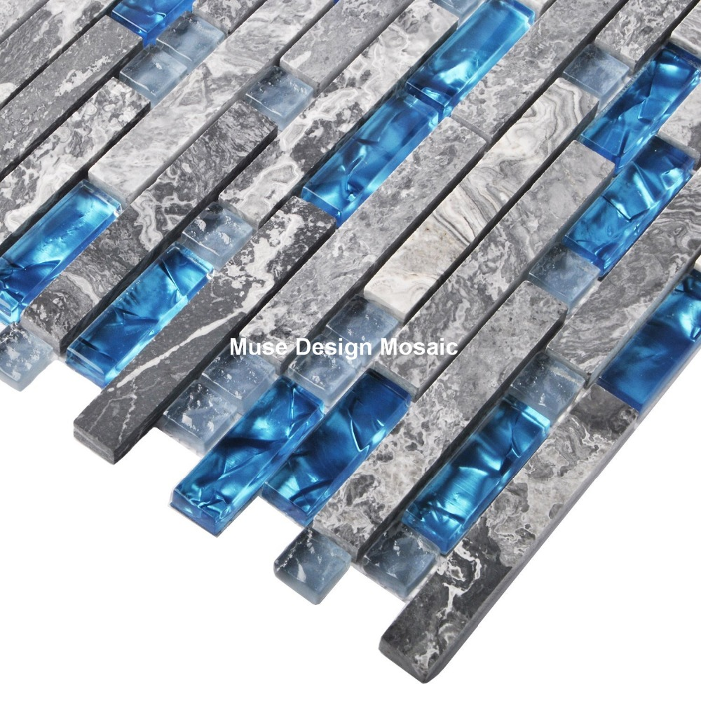 Grey Marble stone Sea blue glass mosaic wall floor tile for kitchen ...