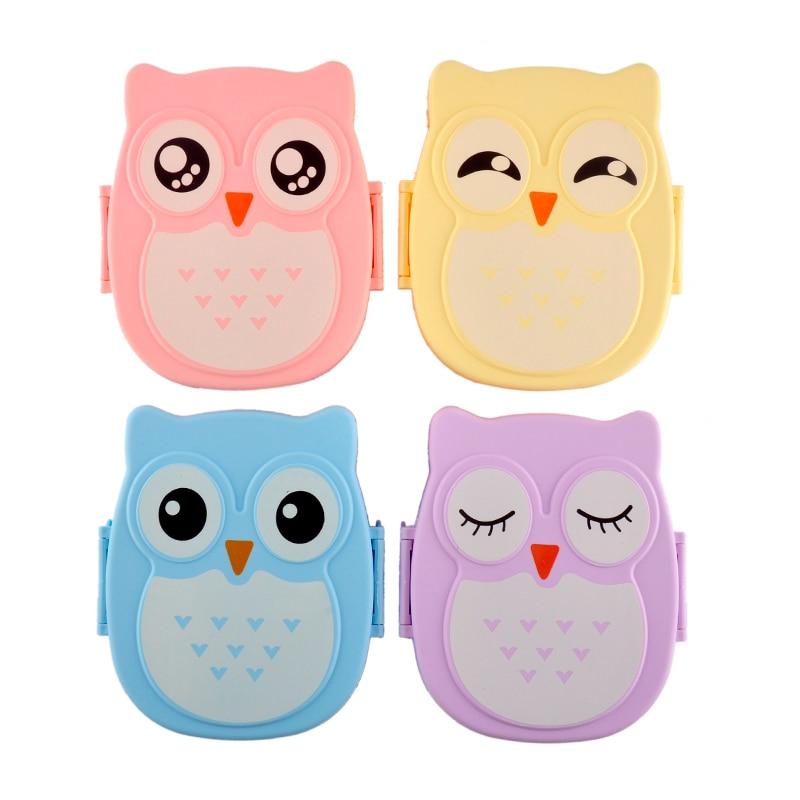 2 Layer Cute Cartoon Owl Lunchbox Kids Children Home School Food