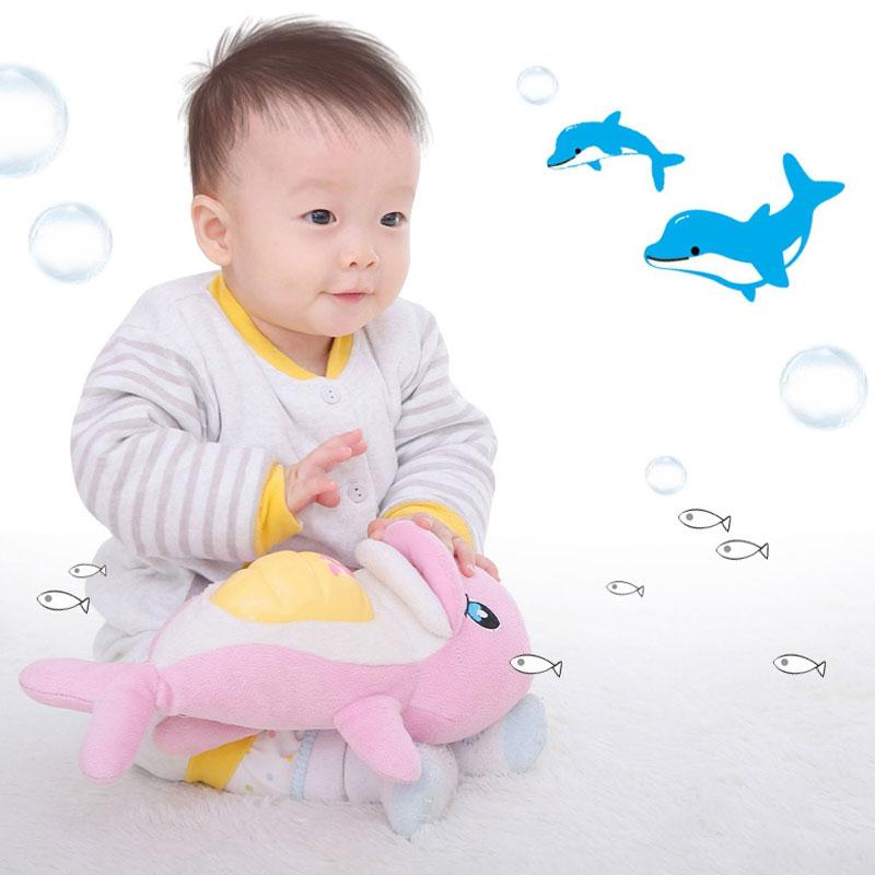 Baby Toys Soft Plush Toys For Baby Doll Musical Sound Toys BB Child Dolphin Sleep Baby Appease Enlightenment Toys