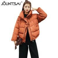 JOLINTSAI Winter Fashion Women Jackets Black Short Cotton Padded Coats Casual Warm Loose Jacket Parkas MR0375