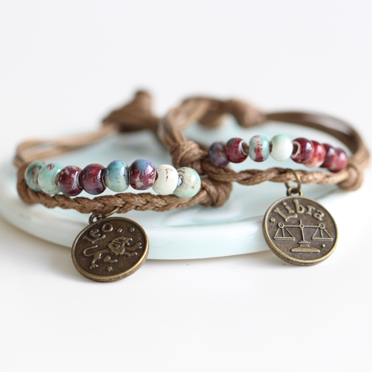 Fashion Delicate Hand Woven Ceramic Beads Bracelet Originality Chinese Style Bracelet Adorn Article