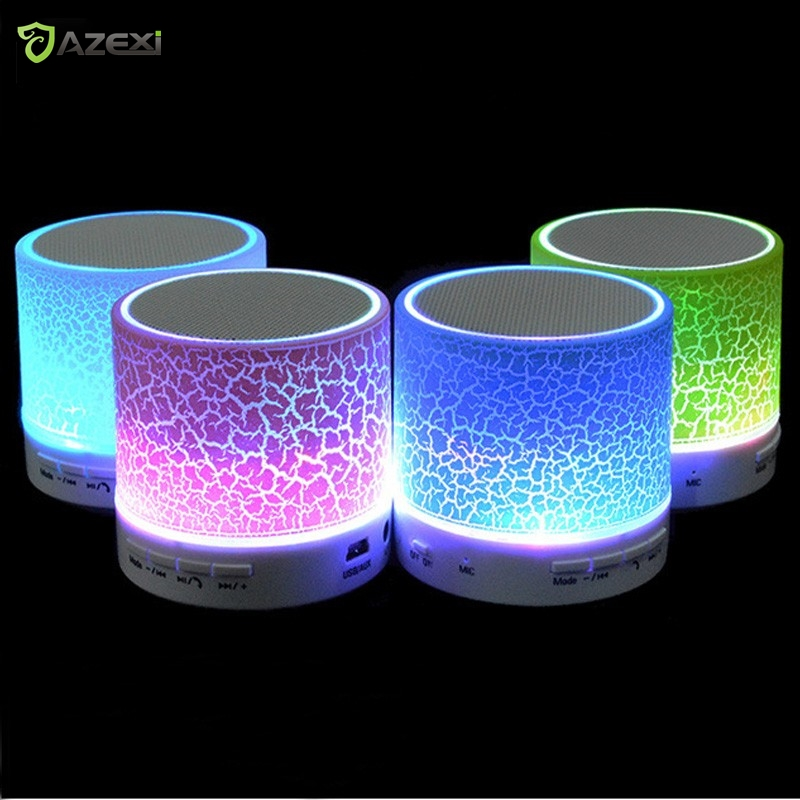 Column LED Mini Wireless Bluetooth Speaker TF USB FM Portable Music Loudspeakers Hand-free call For iPhone 6 Phone PC with Mic