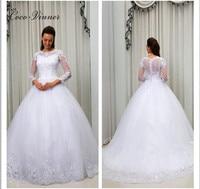 C V Arabic Muslim Ball Gown Elegant Long Sleeves Wedding Dresses Custom Made Applique Beaded Design
