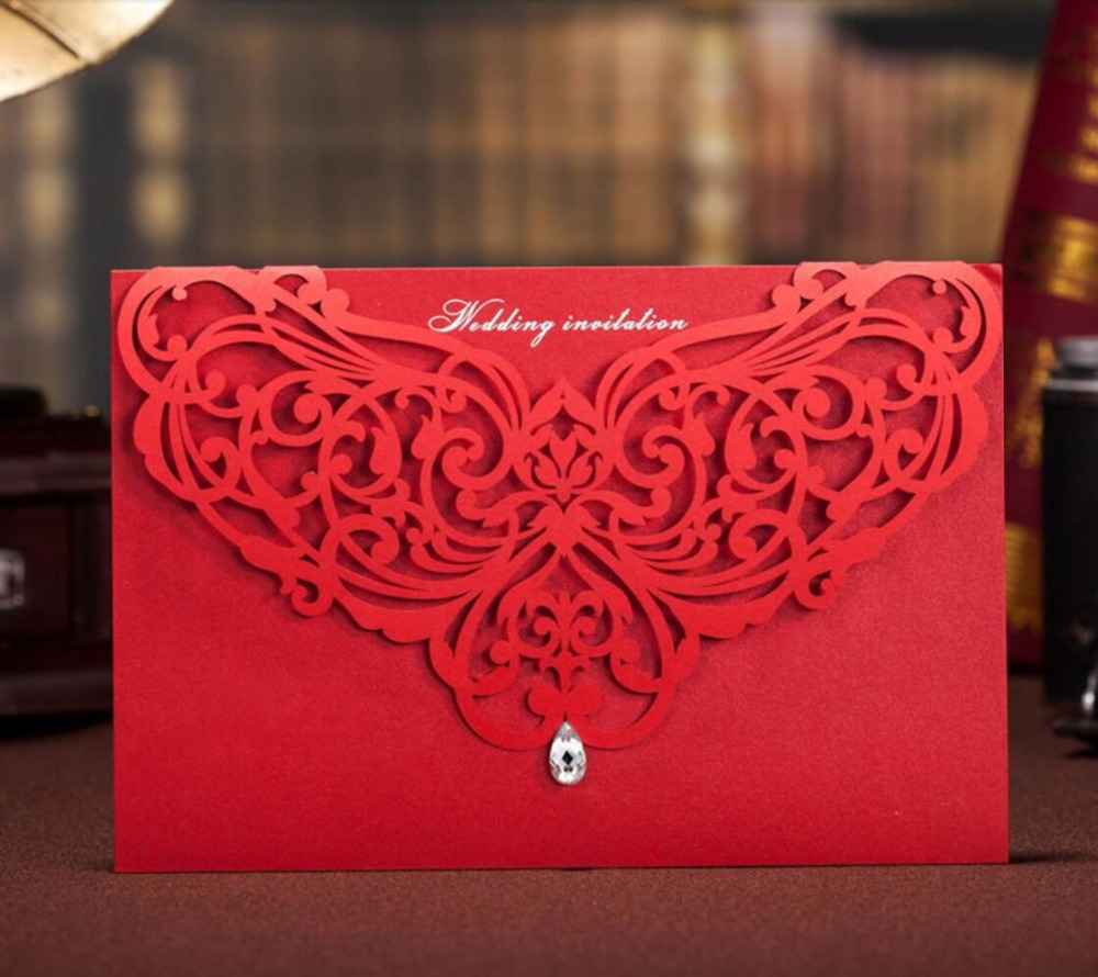 Delicate Red Laser Cut Customized Invitation Card For