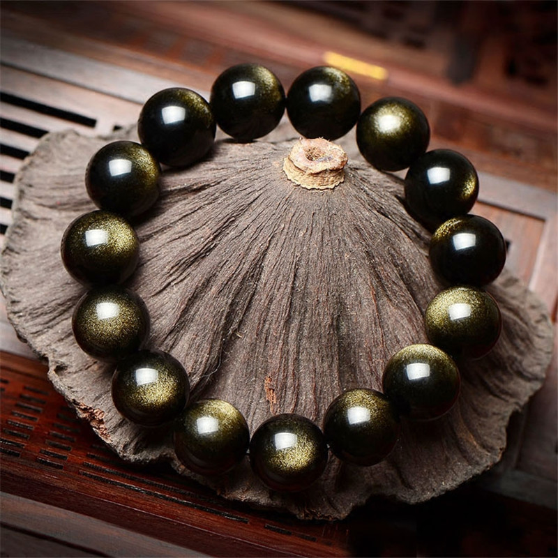 8-12MM բնական քարե Ոսկե օբսիդիանե - Նուրբ զարդեր - Լուսանկար 3