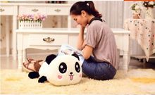 lovely plush lying panda toy cute smile panda doll with hearts on face gift about 45cm