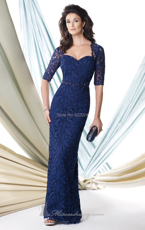 Vestidos azules largos con encaje
