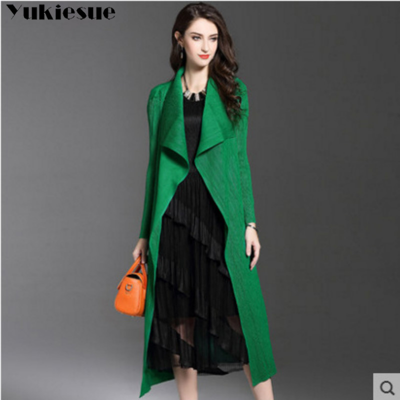 Spring Thin Windproof Outerwear Women   Trench   Coats pleated Long Sleeve Open Front Elegant Office Work Long Duster Coat Cardigan