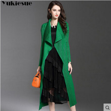 Spring Thin Windproof Outerwear Women Trench Coats pleated Long Sleeve Open Fron
