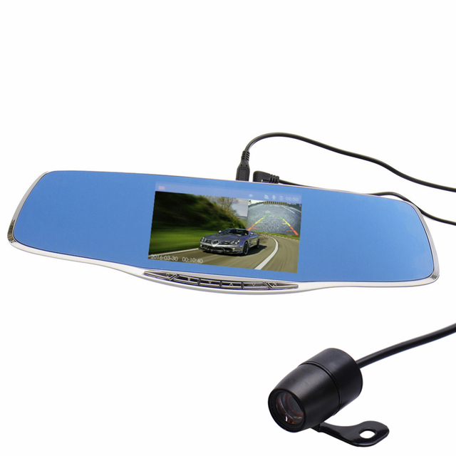 "5.0"" Full HD 1080P 1092*1080 Car Camera DVR Rearview Mirror Dash Cam Dual Lens Video Recorder Night Vision Looping Recording"