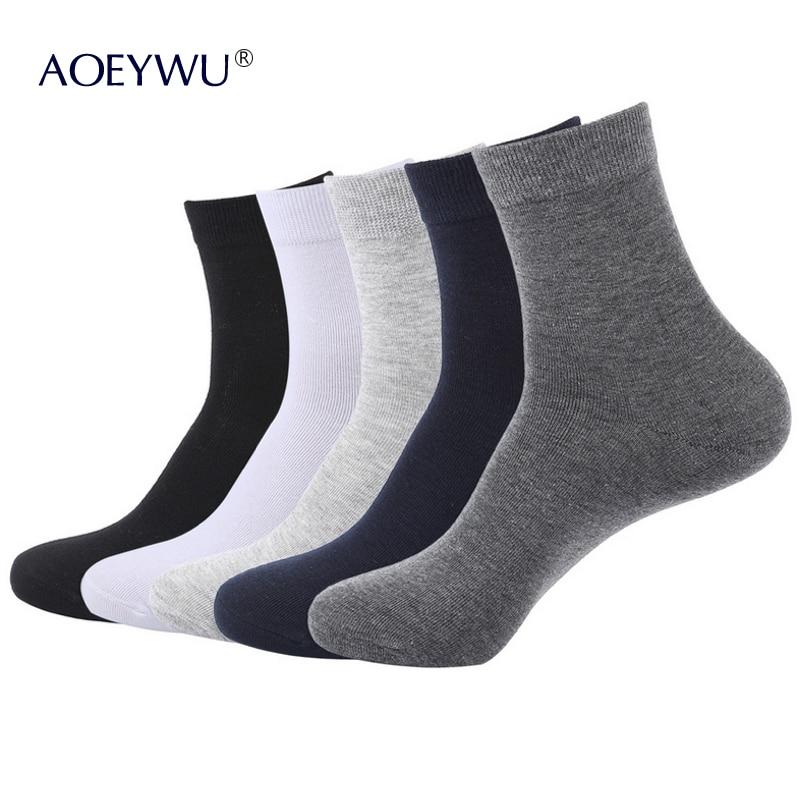 5Pairs / Lot Herren Dünne Baumwollsocken Männlich Schwarz Business Short Socken Frühling Herbst s110 EUR39-44