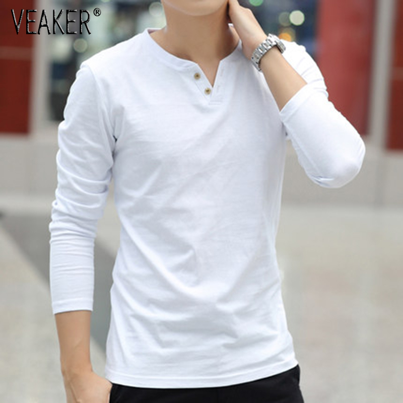 2019 New Men's Autumn Linen T Shirts Male Long Sleeve Chinese Style Tops Tshirt Solid Color White Linen Cotton T Shirt M-3XL