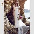 Очаровательная Кружева Пляж Boho Свадебные Платья 2017 Элегантный Cap Рукавом Long Train Свадебное Платье Vestido Де Noiva