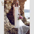 Charme Lace Praia Boho Vestidos de Casamento 2017 Elegante Cap Sleeve Long Train vestido de Noiva Vestido De Noiva