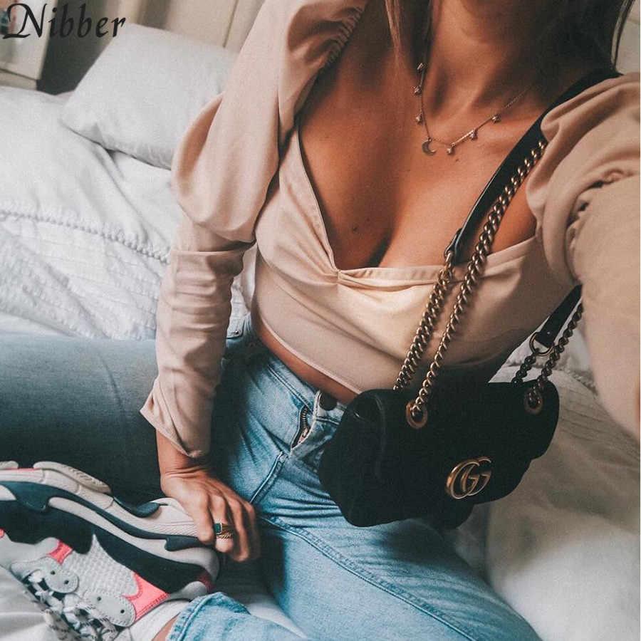 Nibber, богемный стиль, длинный рукав, футболка для женщин, элегантный короткий топ, черный, розовый, красный, 2018, новый тренд, Сексуальная футболка с низким вырезом на спине
