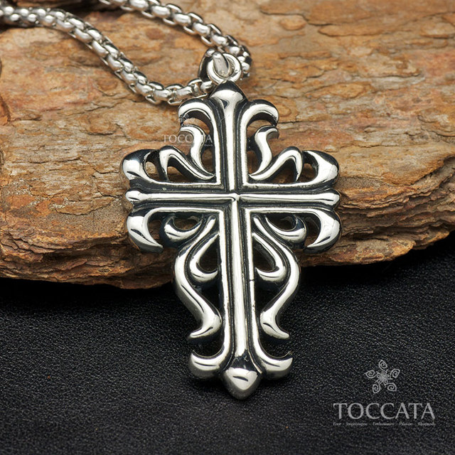 Cutout cross flower fashion pendant for men and women stainless steel necklace vintage flower
