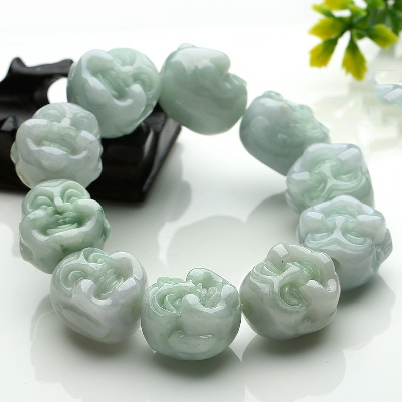 Beautiful smile Buddha beads hand chain myanmar fine carving large beads male of the beads bracelet with the certificate the jayhawks the jayhawks smile