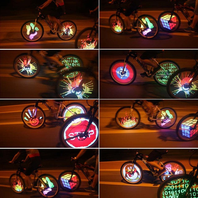 128 RGB LEDs Water Resistant Anti-shock Spoke Light Color Changing Programmable Bike Bicycle Wheel Light Head Front Rear Wheel