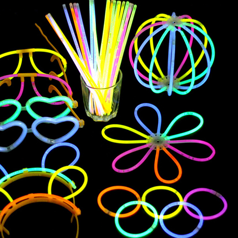 100 Pcs Luminous Colorful Bracelets Light Glow Stick Wedding Christmas Party Light Up Glow Toys Concert Flash Night Light Sticks