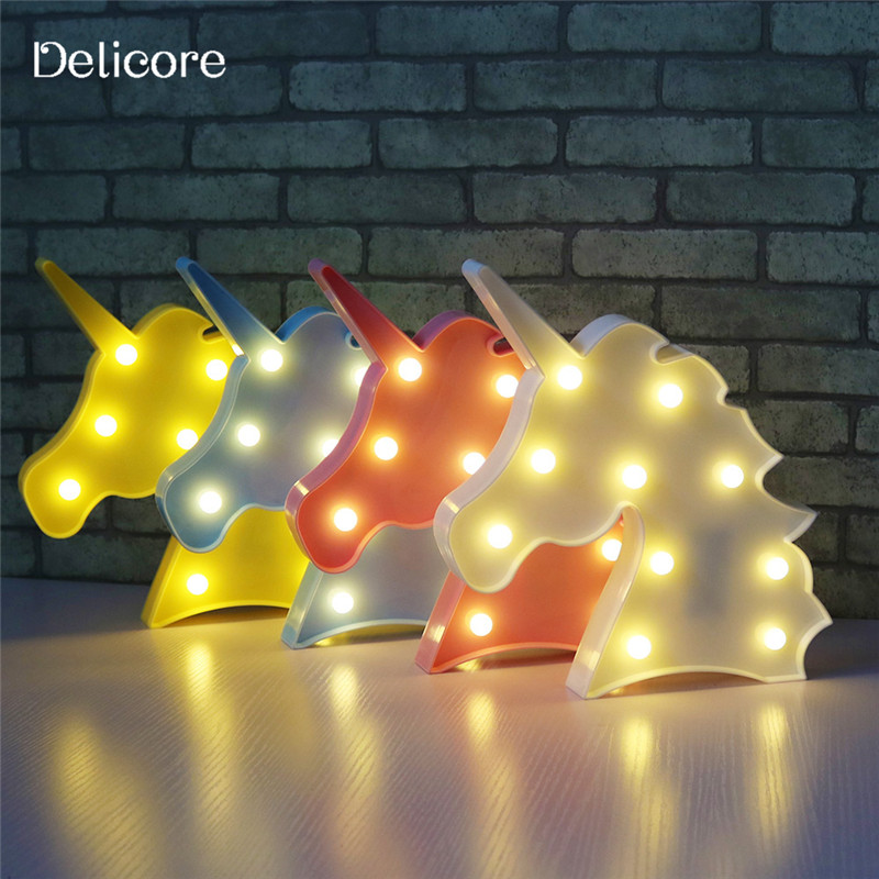 DELICORE Cute Unicorn Head Led Night Light Animal Marquee Lamps On Wall For Children Party Bedroom Decor Kids Gifts S027 cartoon kids light led beside toys kids pendant light lamp kids room night light for children bedroom hanging head lamp