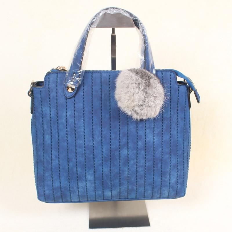 new handbags faux suede stripe blue gray with fur pompom bean belt shoulder bag simple all suit female bags manitobah перчатки suede mitt with fur trim lg charcoal св серый
