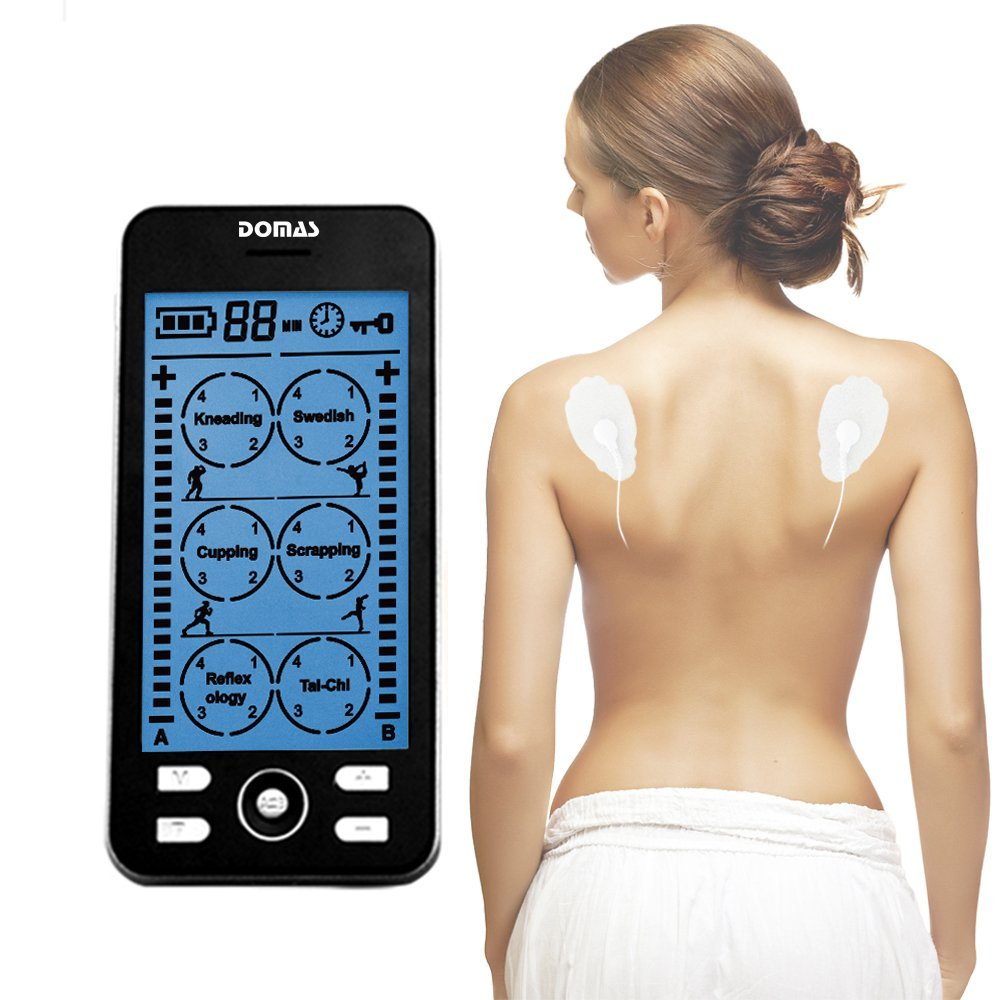 DOMAS TENS Unit Electronic Massager Pain Relief Machine for Neck Shoulder Muscle Sore Joint Lower Back Pain 4oz joint and muscle pain relief cream reliefx by naturo sciences natural joint pain relief breakthrough that relieves arthritis pain fast topical cream naturally rubs away daily aches associated with neck shoulder and back pain formulated with ar