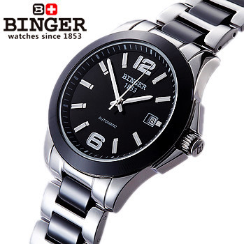Здесь можно купить   Top quality Luxury Sapphire Ceramic Band Watches Black Dial Stainless Steel Automatic Women Binger Watch Lover Couple Wristwatch Часы