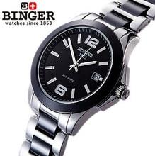 Высокое качество Роскошный Сапфир Керамические Часы Группа Черный Циферблат Из Нержавеющей Стали Автоматическая Женщины Бингер Часы Lover Пара Наручные Часы