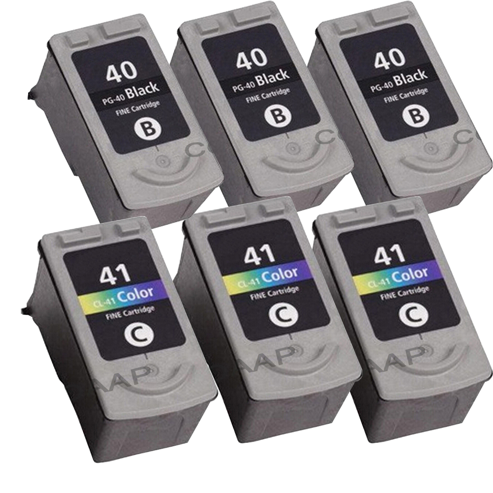 6x PG 40 CL 41 Compatible Ink Cartridge For Canon Pixma MP140 MP150 MP160 MP180 MP190