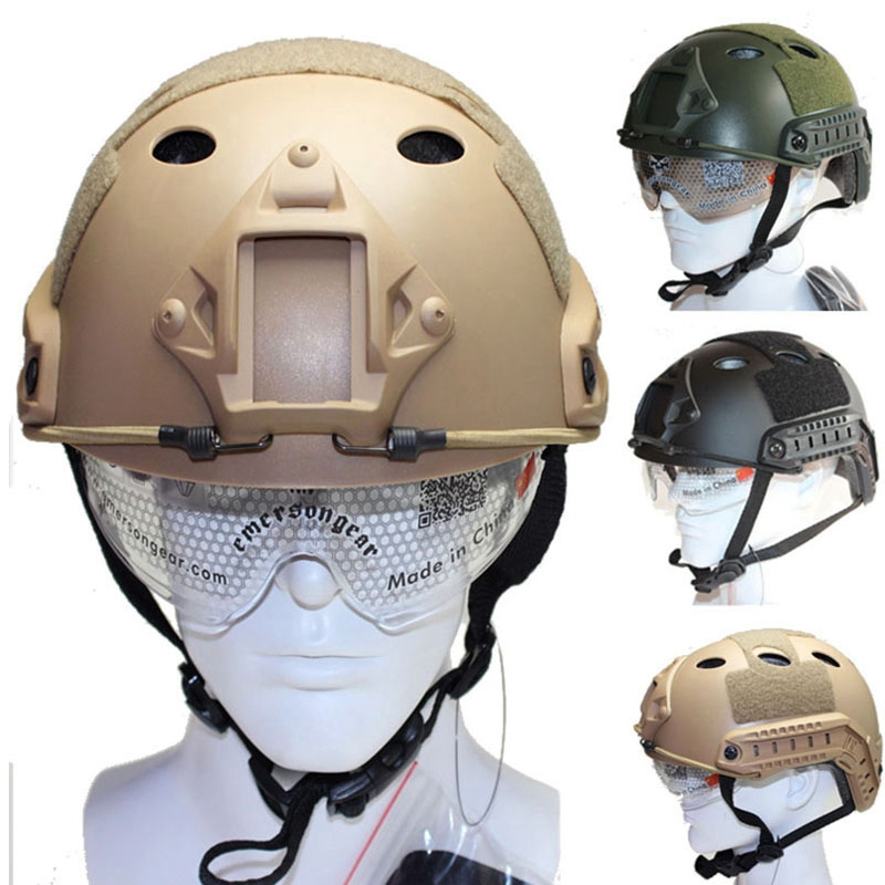 Tactical Army Fast PJ Helmet Airsoftsports Paintball Protector with Adaptable Protective Slid Goggle Night Vision Mount emerson military fast bj helmet airsoftsports tactical paintball with protective slid goggle arc side rails vas shroud nvg mount