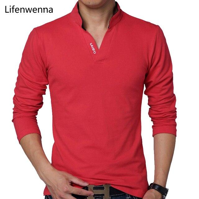 Горячие Продажа Новые 2017 Мода Марка Мужчины Polo рубашки Сплошной Цвет с Длинными Рукавами Slim Fit Рубашки Мужчины Хлопок polo Рубашки Повседневные рубашка 5XL