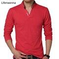 Hot venda nova 2017 homens marca de moda polo camisa de cor sólida-manga longa slim fit camisa dos homens do algodão polo camisas casual camisas 5xl