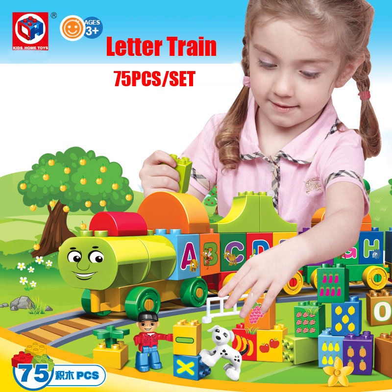 Kid's Home Toys 75PCS My First Edition Letter Alphabet Train Model Large Particle Building Blocks Kid Gift Compatible With Duplo your first atlantic crossing 4th edition