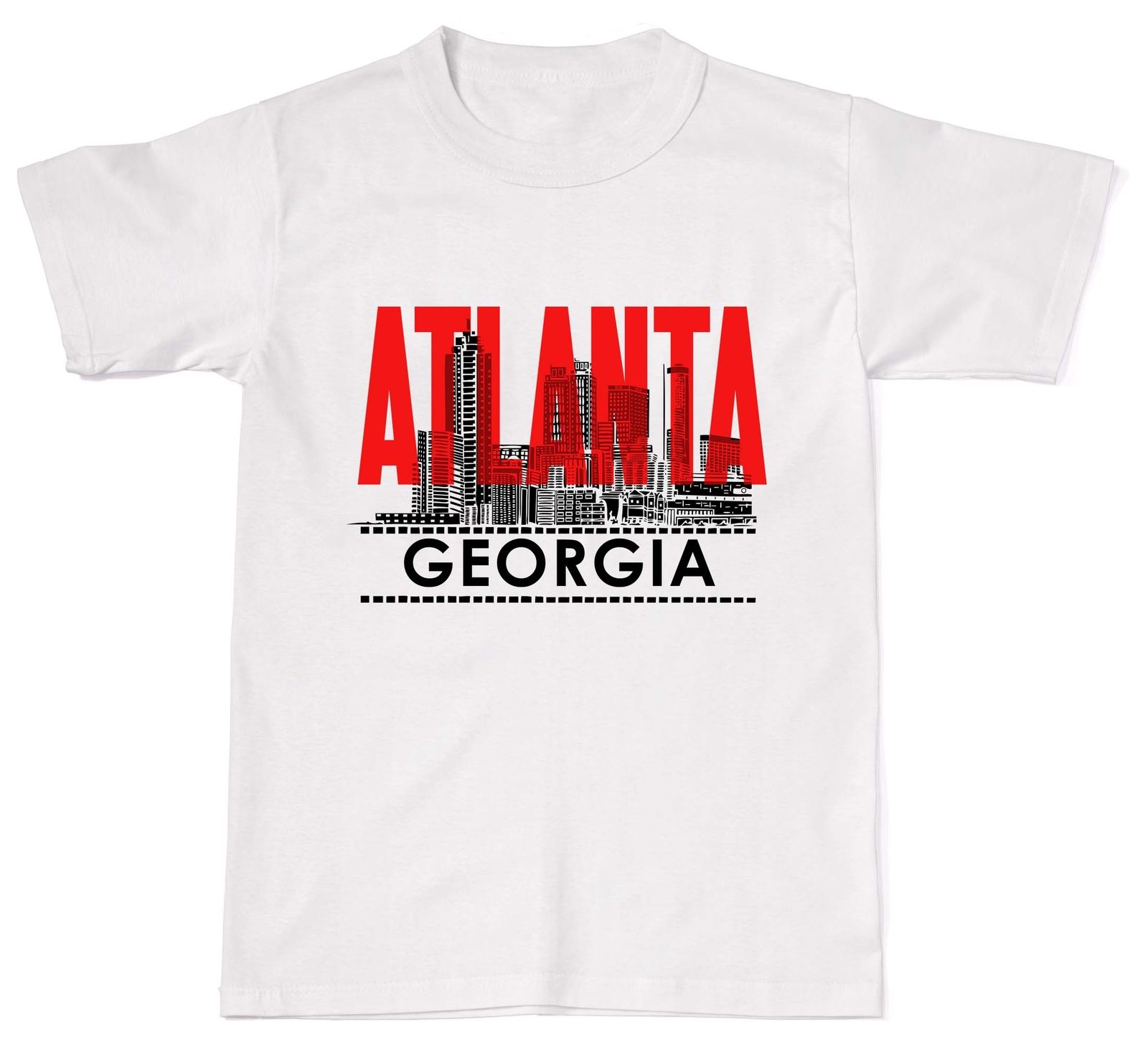 New Unisex T Shirt European Style In Soft Cotton Tees Atlanta Georgia Atl Usa America City Skyline T Shirts Online image