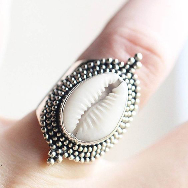 Bohemian Natural Sea Shell Antique Silver Ring for Women Summer Beach Hard Shell  Finger Rings Jewelry