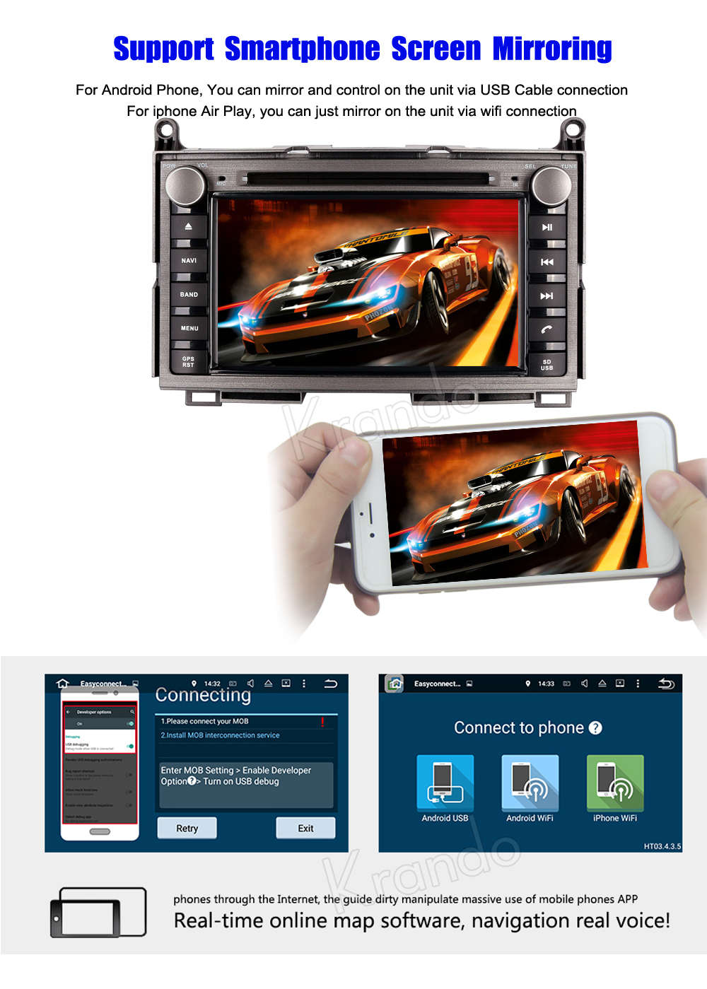 Krando Android 80 Car Radio Gps Dvd Player For Toyota Venza 2008 Wiring Harness Navigation System 5
