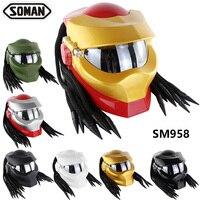 Soman SM958 Predators Motorcycle Helmet Ironman Moto Cross Capacetes Full face Casco with Braids&Illumination lamp