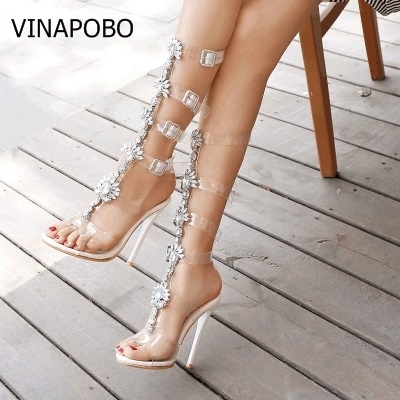 Summer Flats transparent Sandal Gladiator Gold Rhinestone Knee High Buckle Strap Woman Boots Bohemia Style Crystal Beach Shoes-in Knee-High Boots from Shoes    1